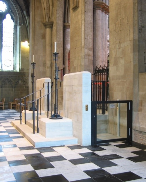 The elegant and discreet new disabled access to St Alban's shrine. Photographs © Richard Griffiths